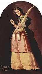 Die heilige Apollonia: christliche Martyrerin die in Alexandrien um 249 n. Chr. stirbt
