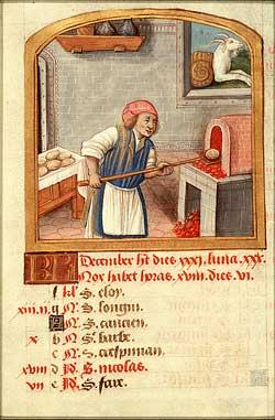 Mittelalterliche Darstellung eines brotbackenden Bäckers, aus einem Backrezeptebuch