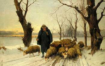Schäfer mit seinen Schafen im Schnee: Gemälde von Ernst Meissner (1837–1902), Öl auf Leinwand