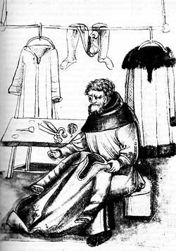 Ein Schneider mit seinem Werkzeug: Schere, Nadel, Garn und Dorn für die Bearbeitung von Pelzen (spätmittelalterliche Federzeichnung)